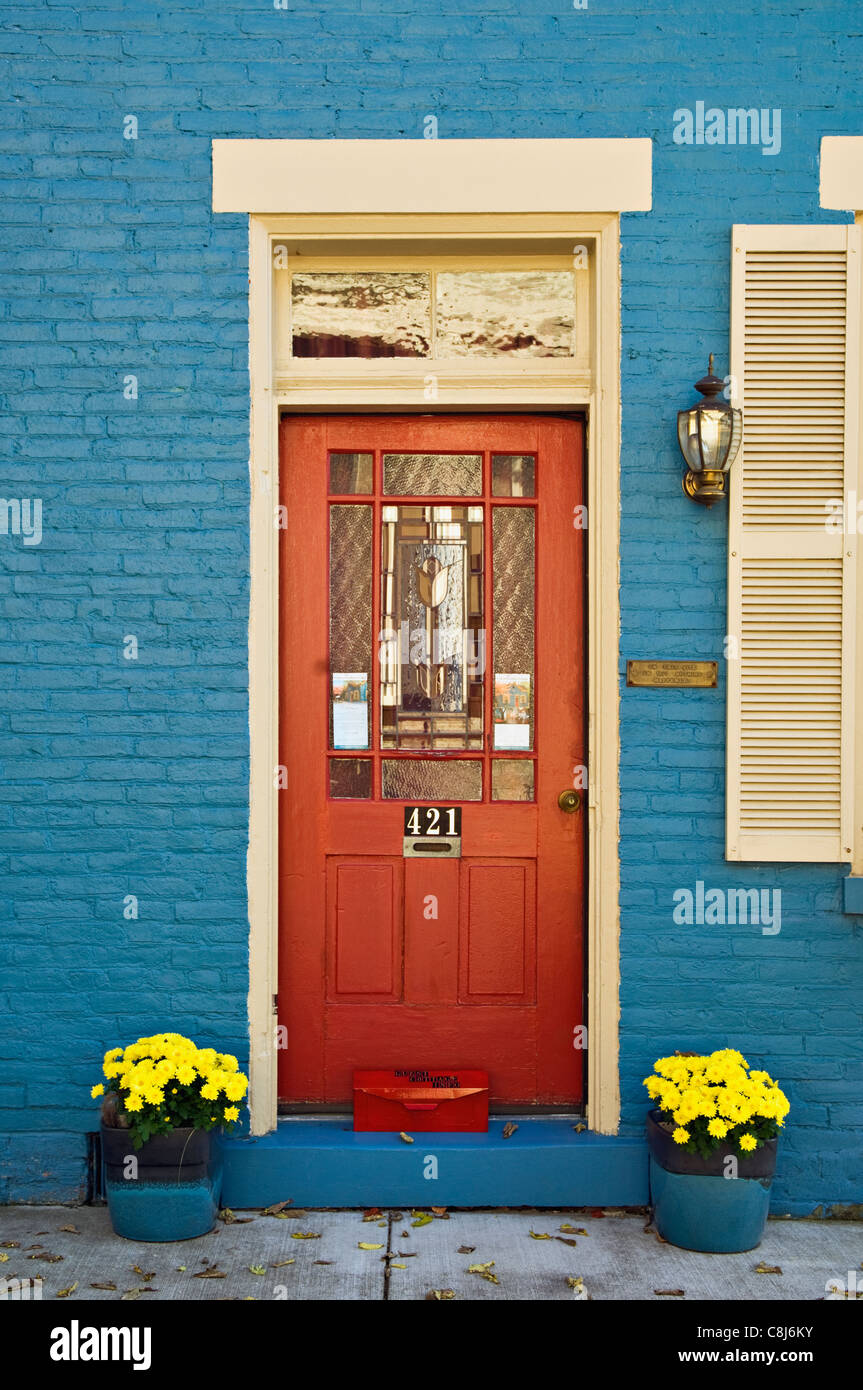 Doorway to Blue House in Madison, Indiana - Stock Image