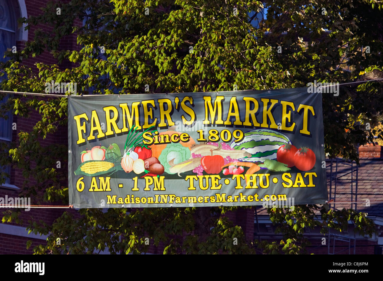 Farmer's Market Banner in Madison, Indiana - Stock Image