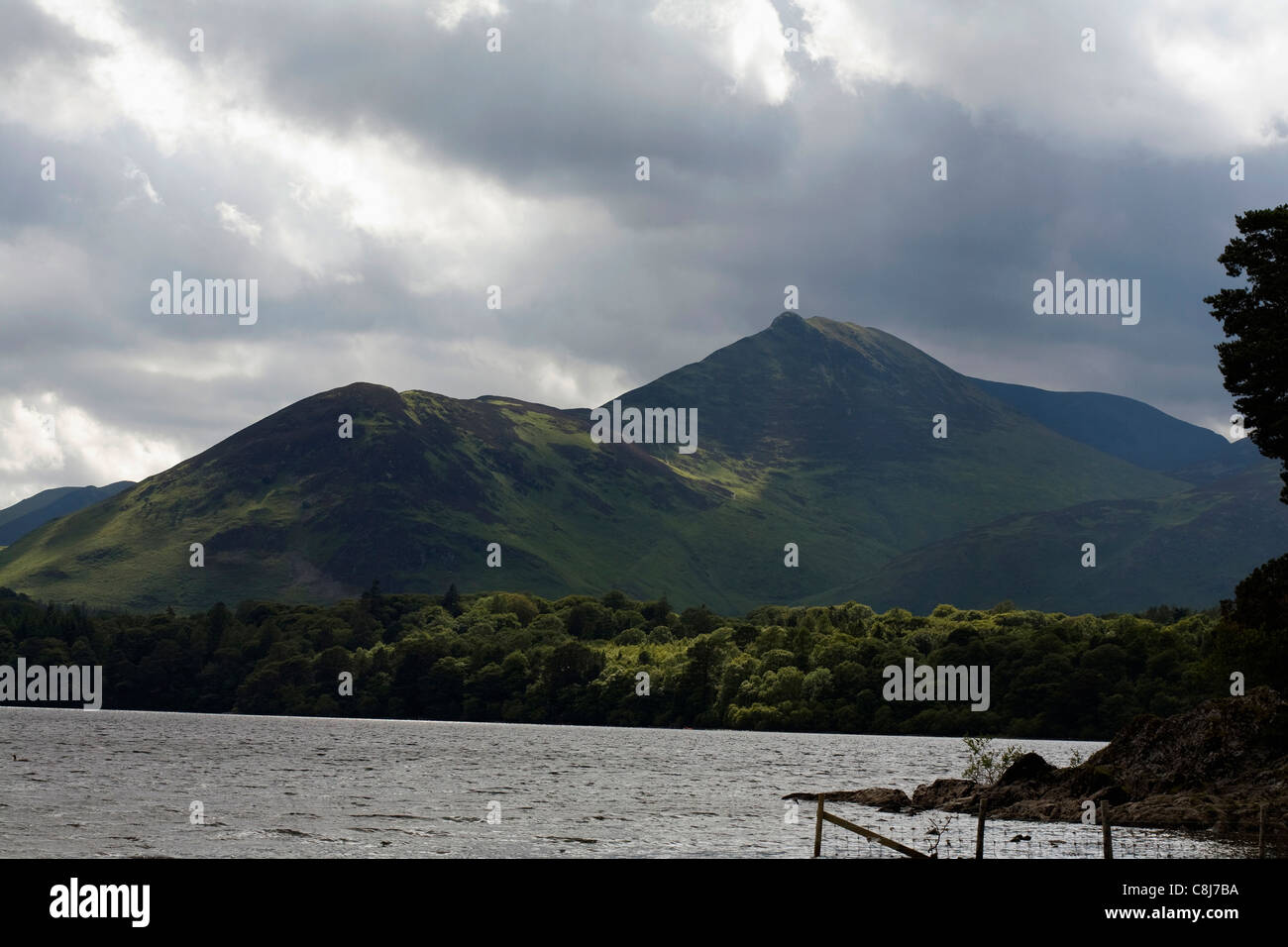A view of Causey Pike rising  above the west shore of Derwent Water near Keswick, Cumbria Stock Photo