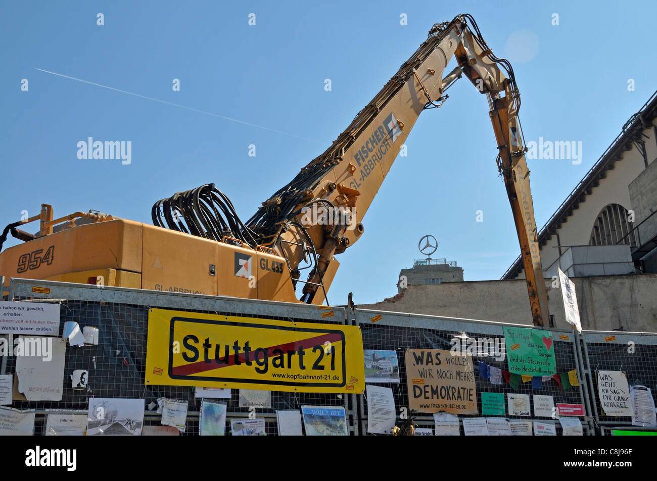 Demolition work, roadblock, cordon, railway station, construction project, fence, Germany, Europe, central station, - Stock Image