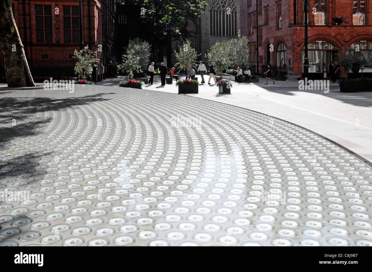 London street scene Carlos Place & Mount Street Mayfair pavement refurbishment glass lenses in 'Silence' - Stock Image