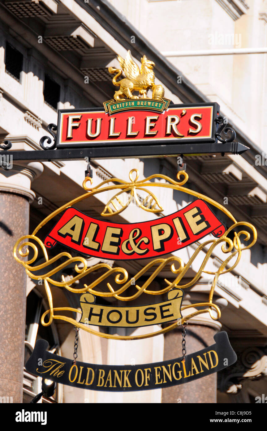 Close up of Fullers Brewery Ale & Pie sign at The Old Bank of England listed building public house at 194 Fleet - Stock Image