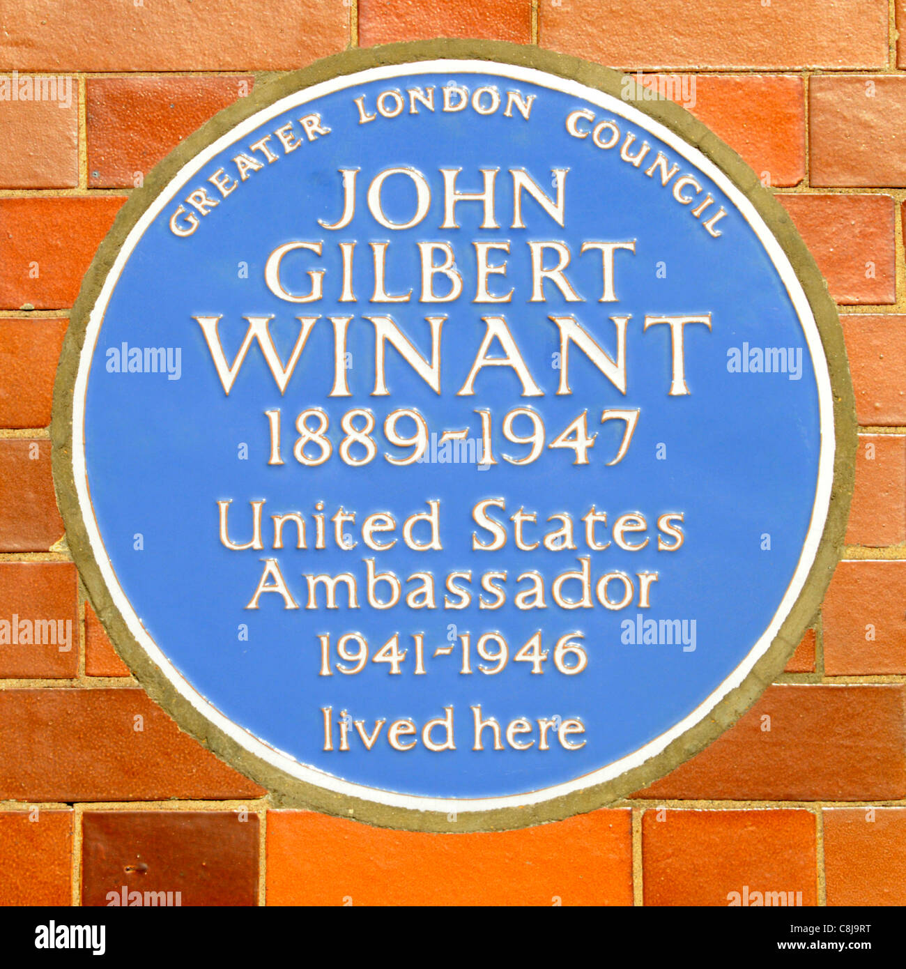 Greater London Council blue plaque commemorating John Gilbert Winant United States American ambassador lived here - Stock Image