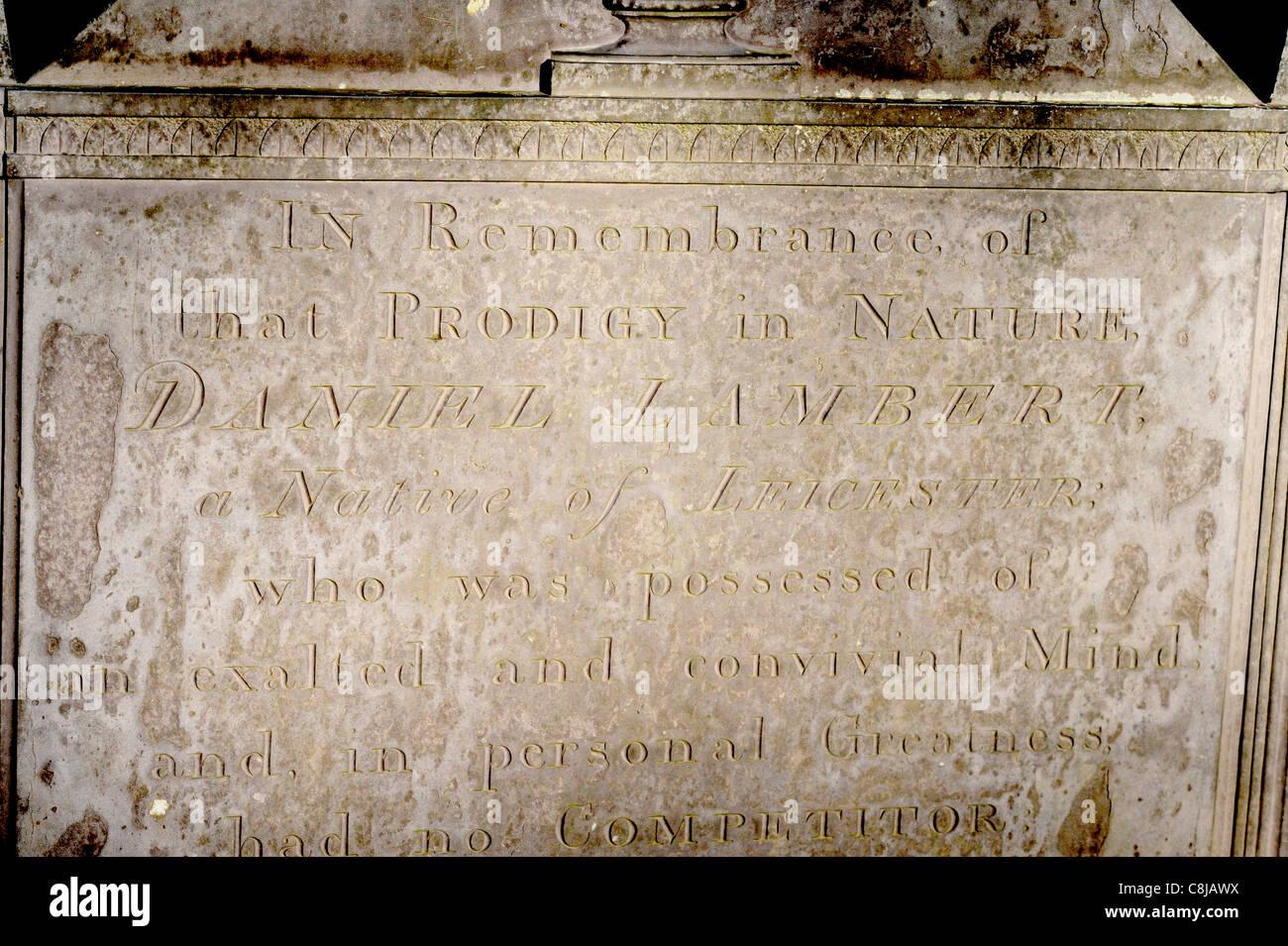 Daniel Lambert's gravestone at Stamford. - Stock Image