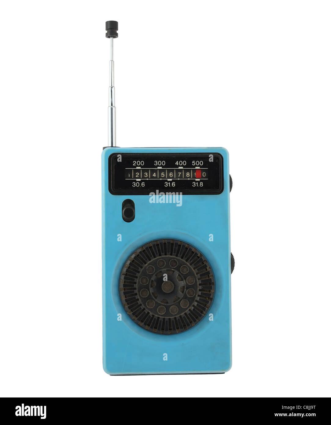 Vintage retro portable radio isolated on white background Stock Photo