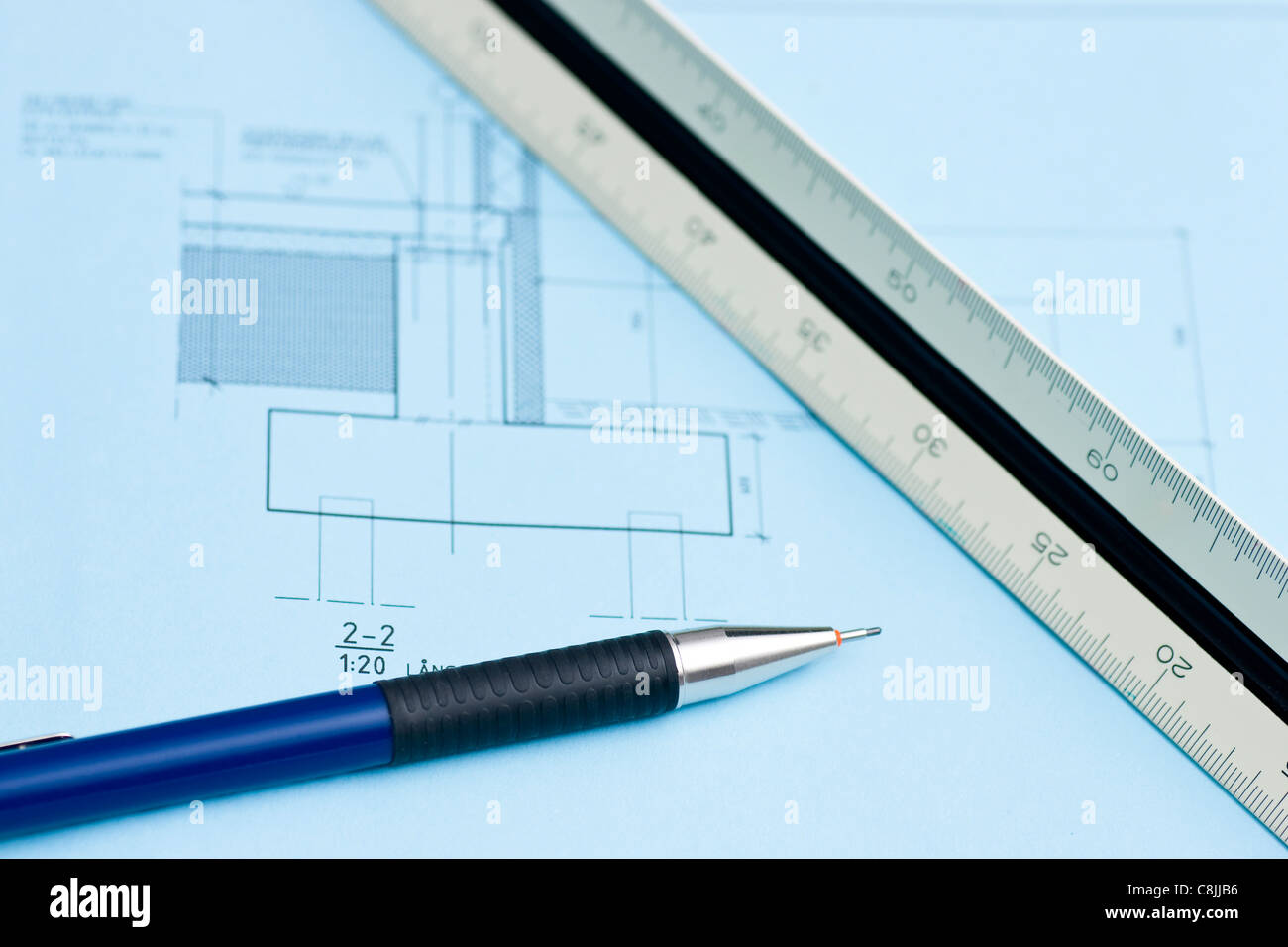 Build house draw blueprint stock photos build house draw blueprint construction blueprint stock image malvernweather Image collections