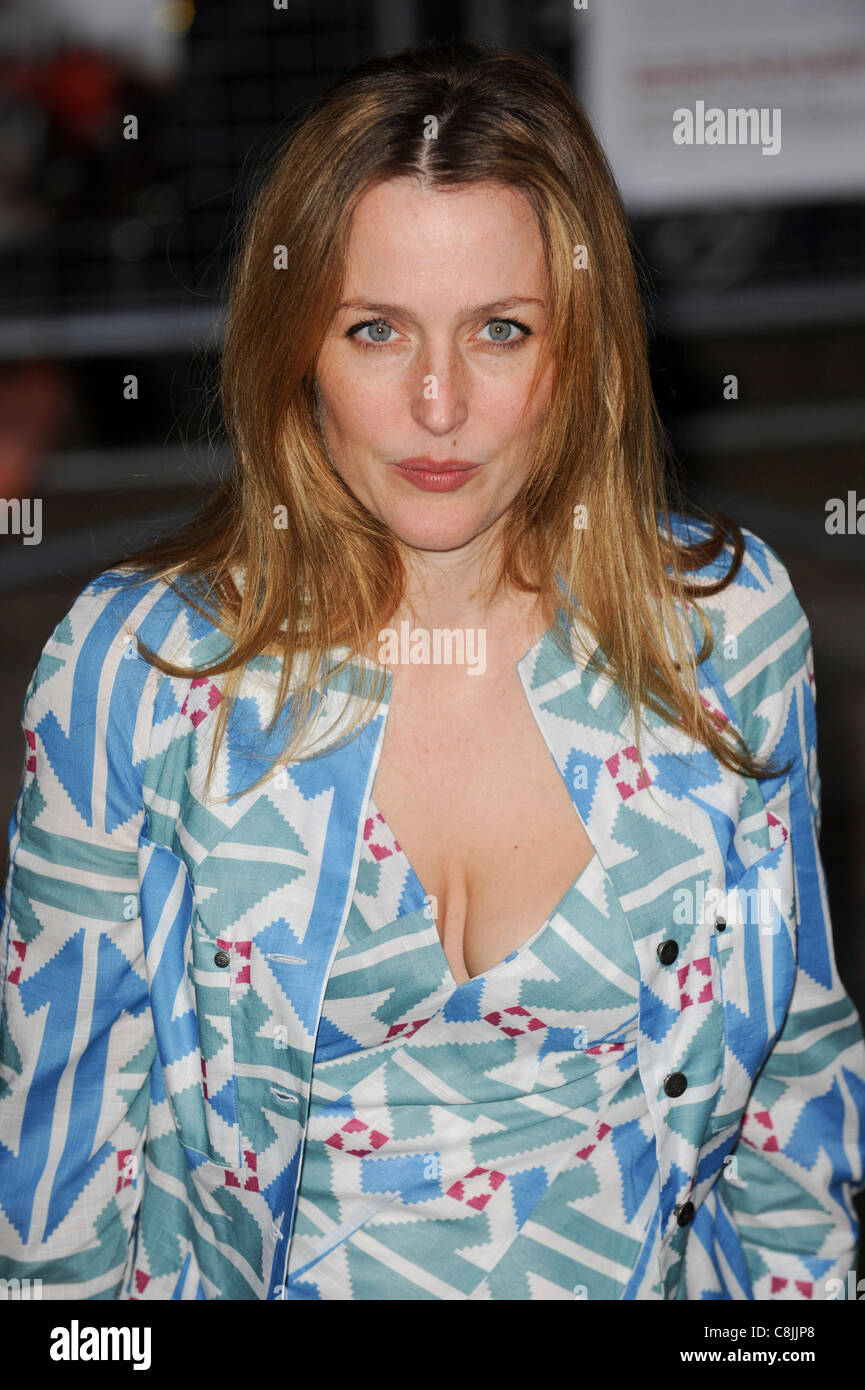 "Gillian Anderson attends the premiere of ""The Age of Stupid"" in Leicester Square, London, 15th March 2009. Stock Photo"