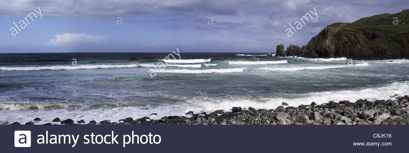 Panorama of Traigh Mhor Beach, Tolsta, Lewis, Isles of Lewis and Harris, Outer Hebrides, aka Western Isles, Scotland, - Stock Image