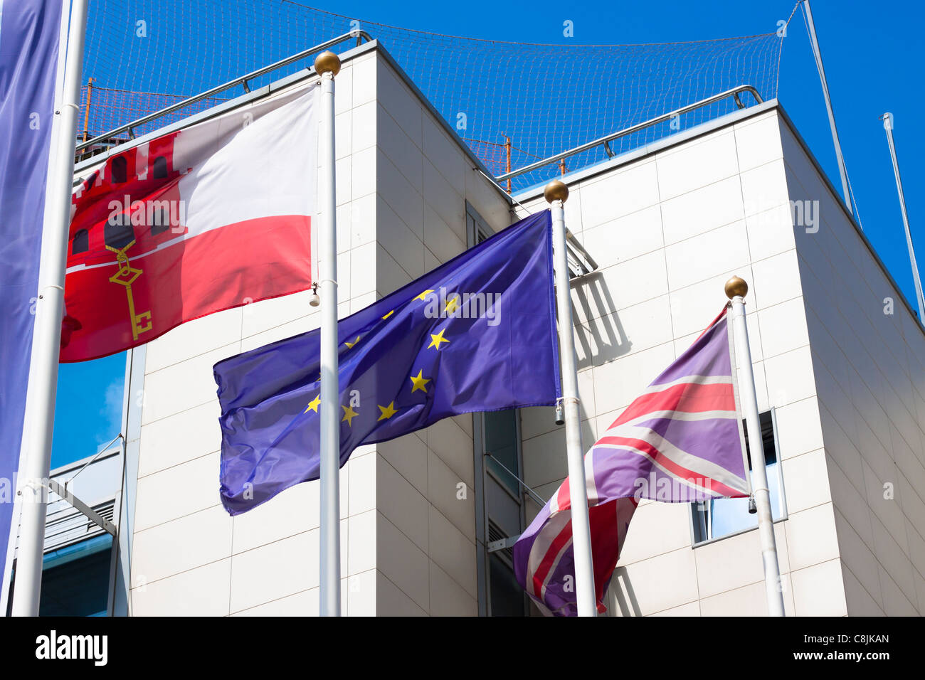 Flag of Gibraltar, Great Britain and European Union. - Stock Image