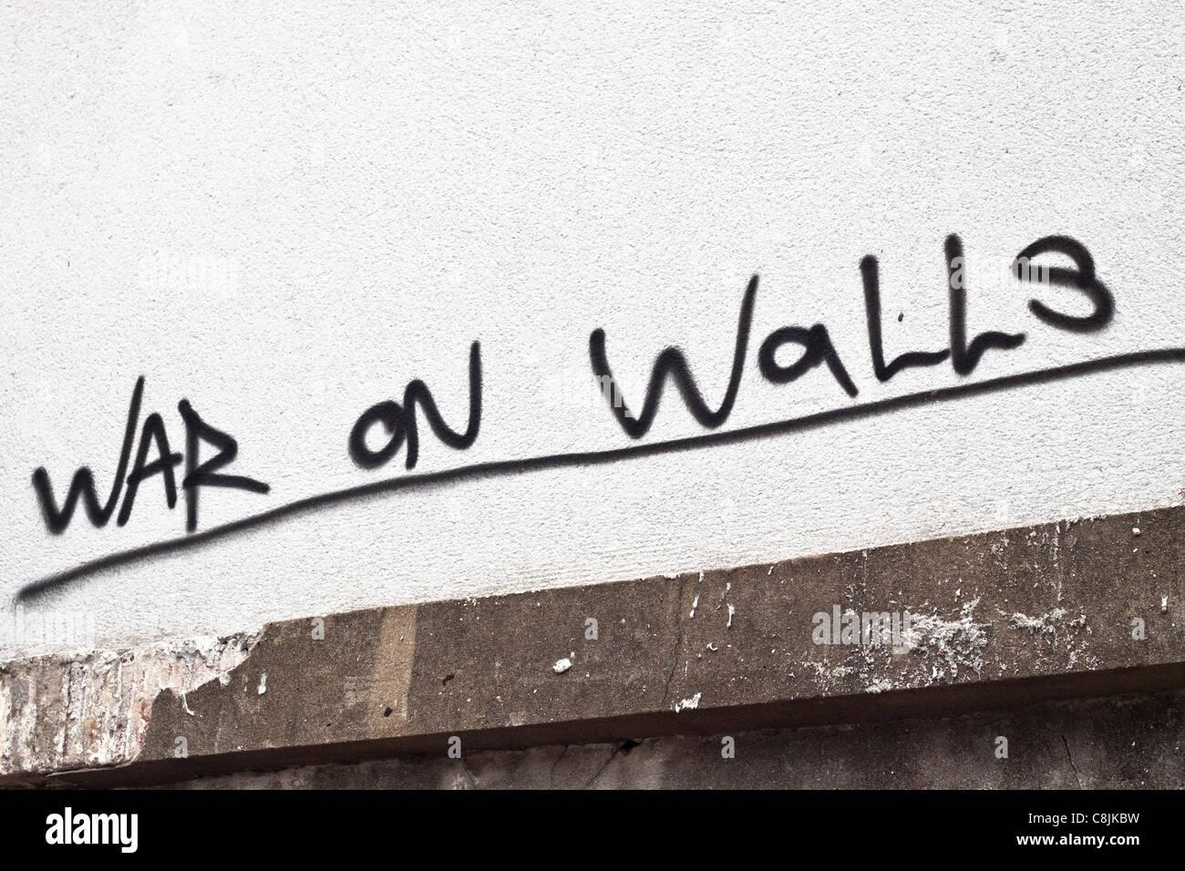 Graffiti writing War On Walls. - Stock Image