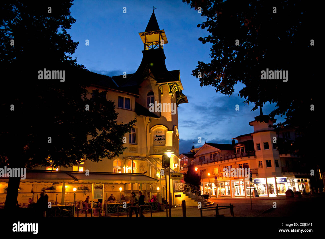 special historist style Architecture Baederarchitektur of Hotel Duenen Schloss in  Zinnowitz, Usedom island, Germany Stock Photo
