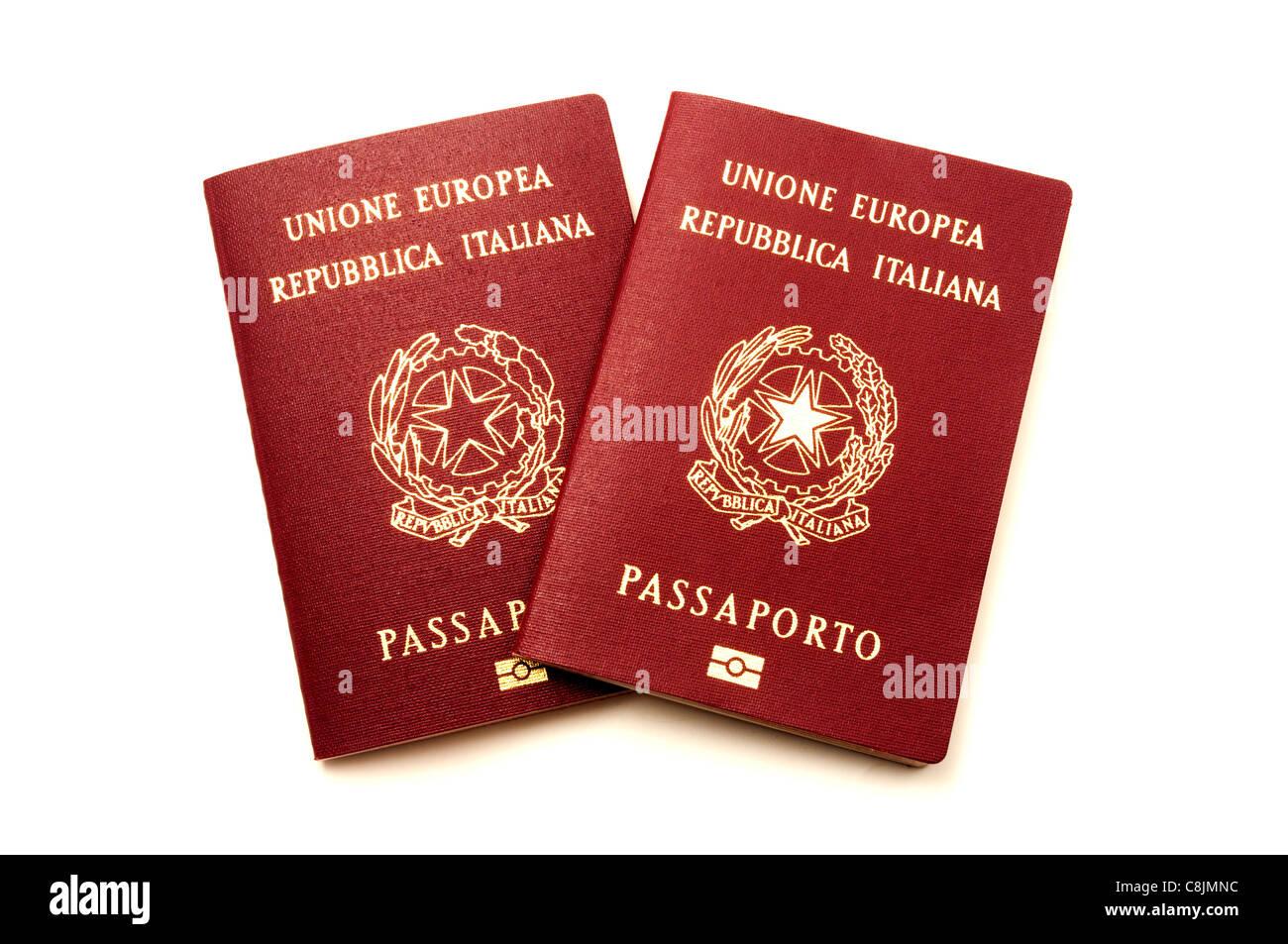 Italian biometric e-passports on a white background - Stock Image