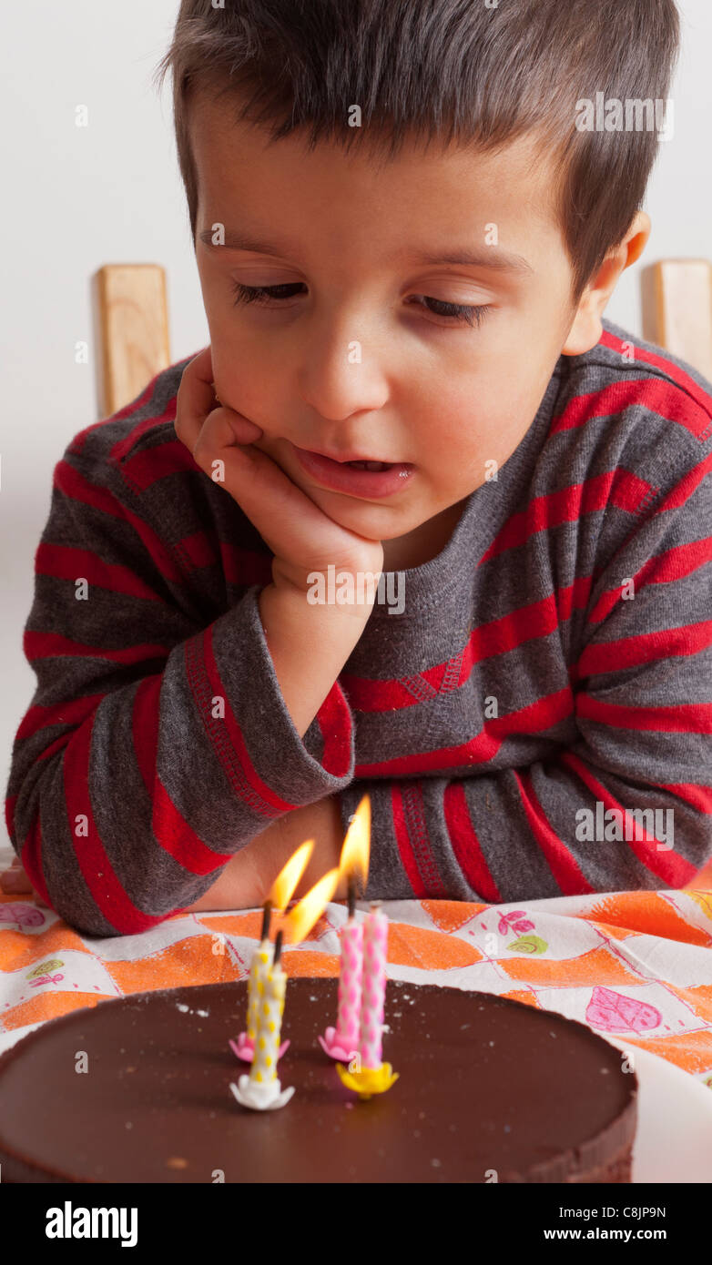 Surprising 3 Years Old Boy Looking At His Birthday Cake Stock Photo 39750641 Personalised Birthday Cards Veneteletsinfo