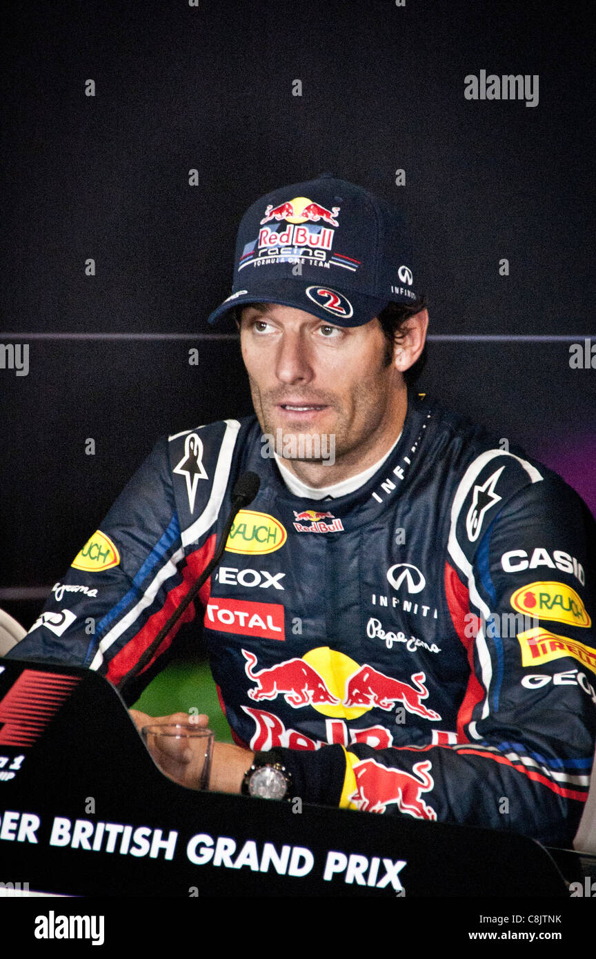 Mark Webber in the press conference, British Formula 1 Grand Prix - Stock Image