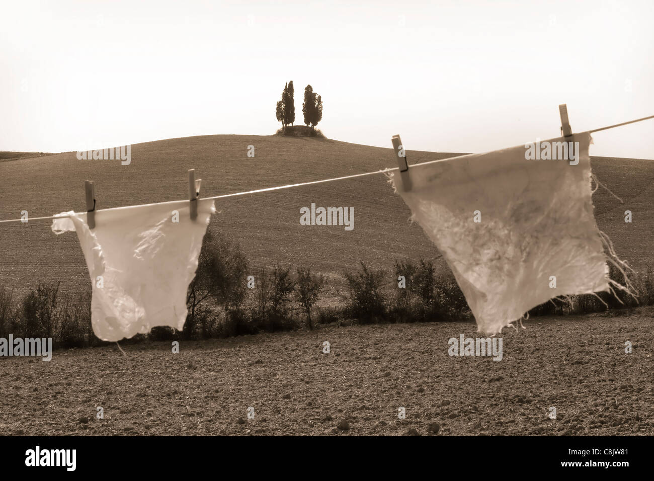 laundry in Tuscany - Stock Image