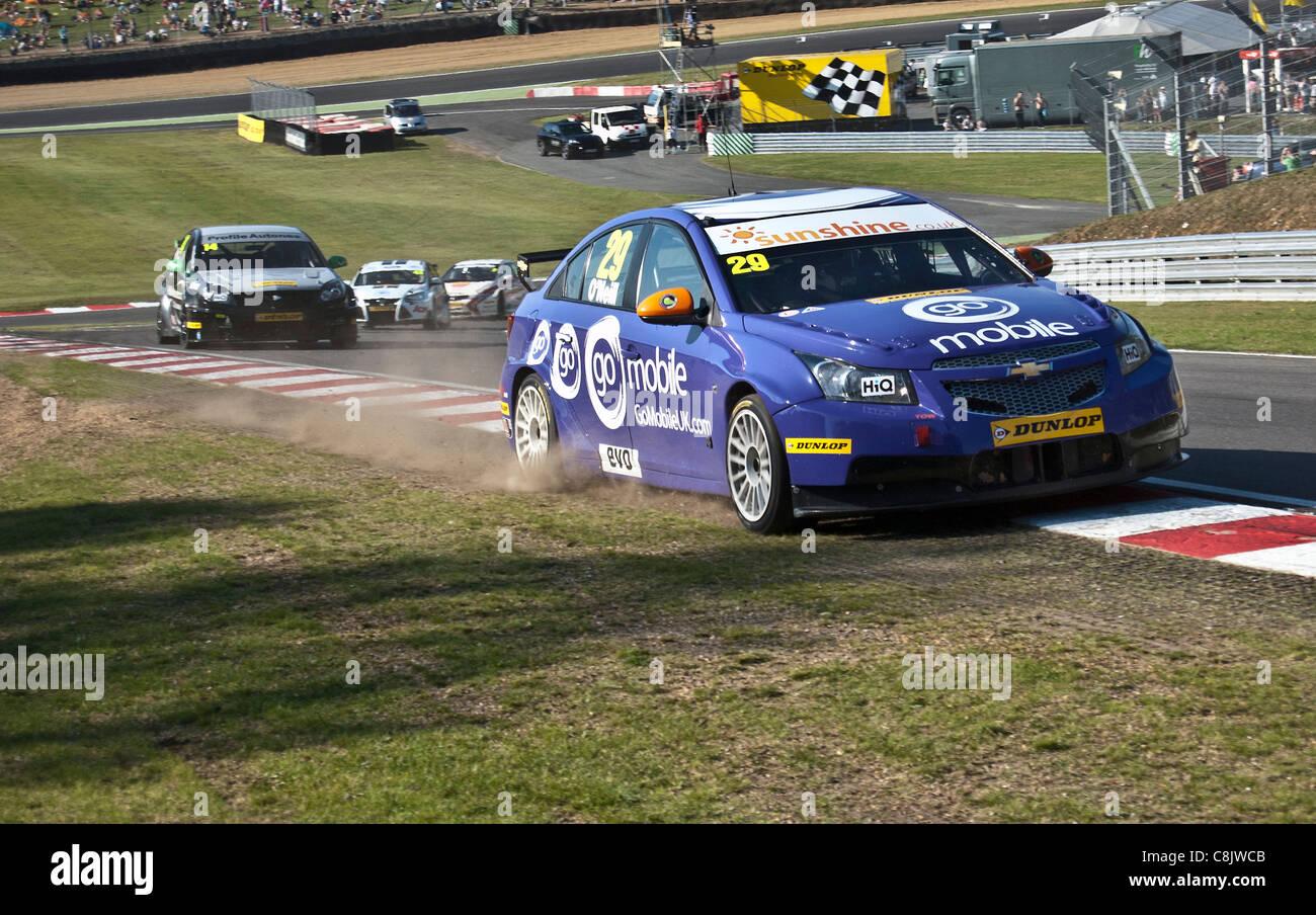 Paul O'Neil of GOMOBILE.COM British Touring Car Championship racing team - Stock Image