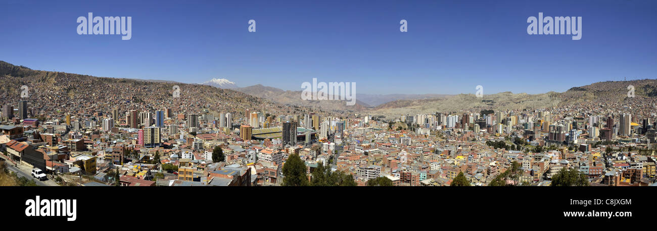 la paz bolivia killi killi viewpoint panorama city capital south america Illampu Mountain andes Cordillera Real - Stock Image