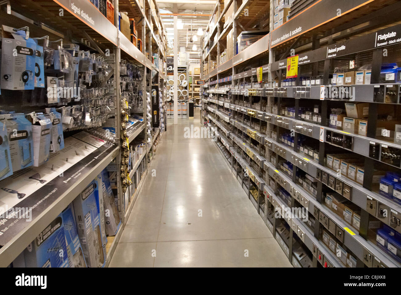 Aisle displaying light switches and electrical sockets in the Stock ...