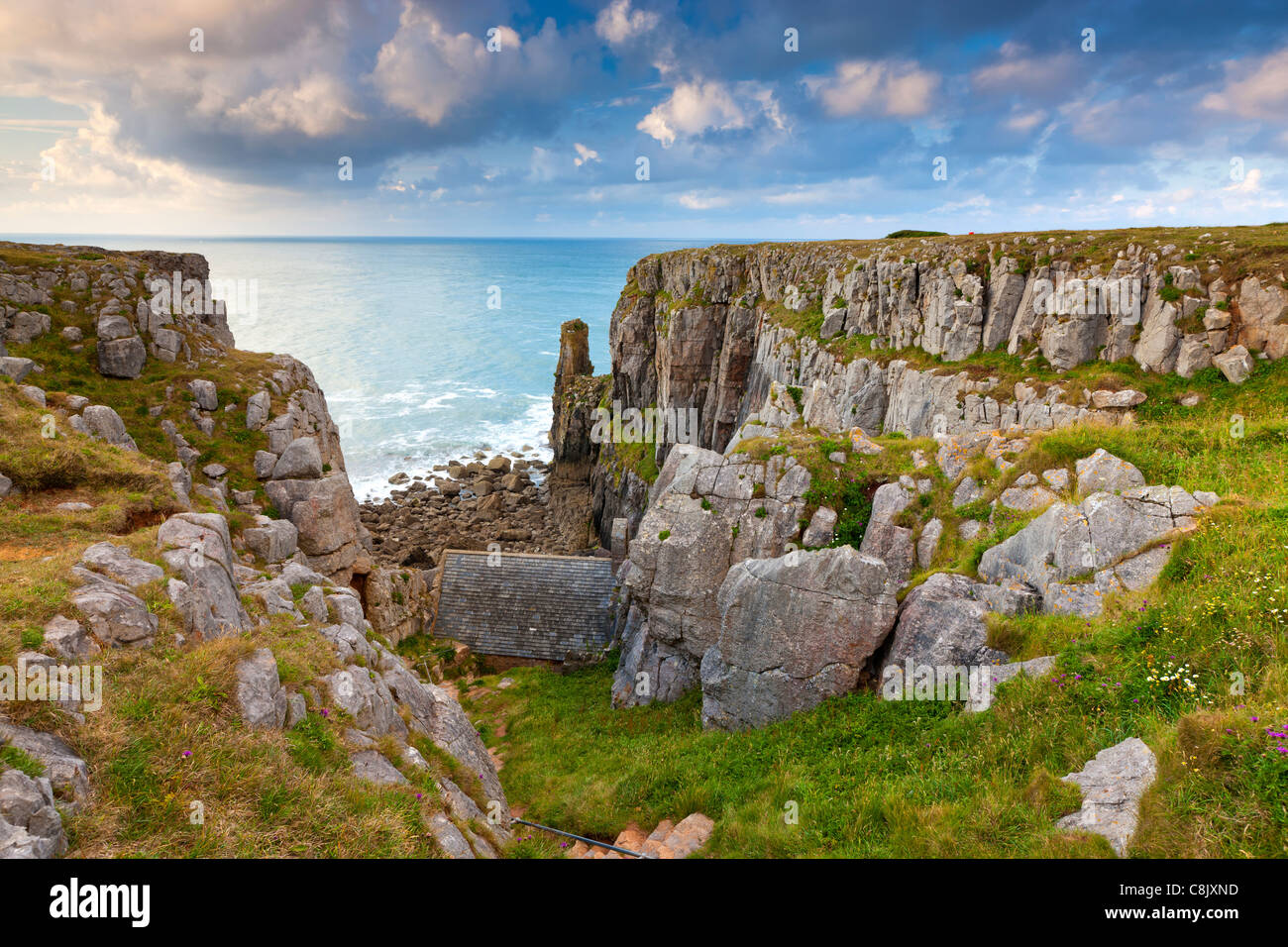 St Govan's Chapel a 13th century Scheduled Ancient Monument in the Pembrokeshire Coast National Park - Stock Image