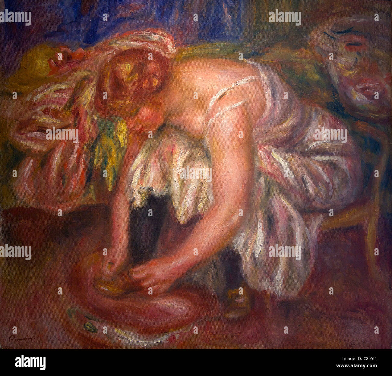 Woman tying her Shoes, by Pierre-Auguste Renoir, 1918, Courtauld Institute Galleries, Somerset House, London, England, - Stock Image
