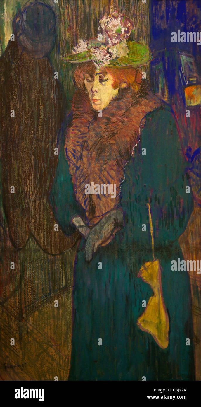 Jane Avril in the Entrance to the Moulin Rouge, 1892, by Henri Toulouse-Lautrec, Courtauld Galleries, Somerset House, - Stock Image