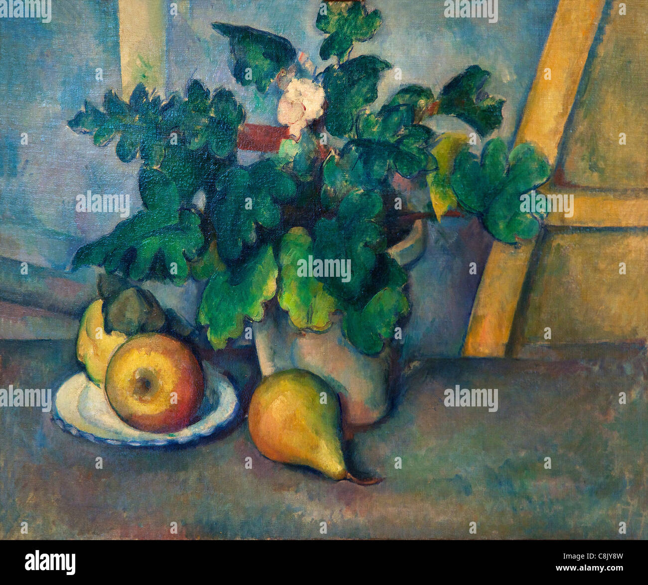 Pot of Flowers and Pears, by Paul Cezanne, 1888-90,  Courtauld Galleries, Somerset House, London, England, UK, United - Stock Image