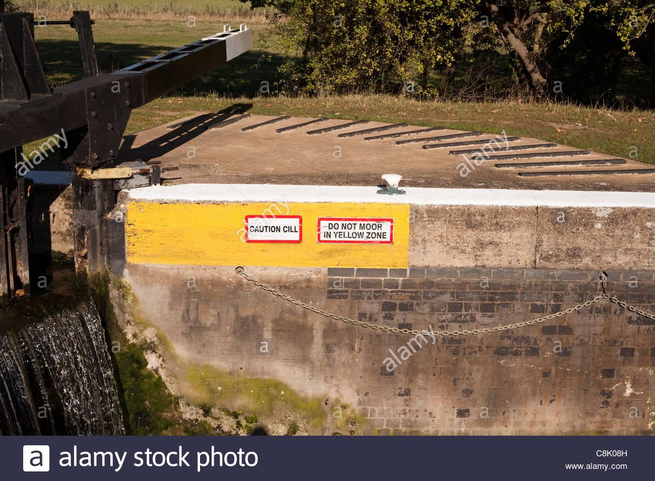 Lock gates - warning signs - Stock Image