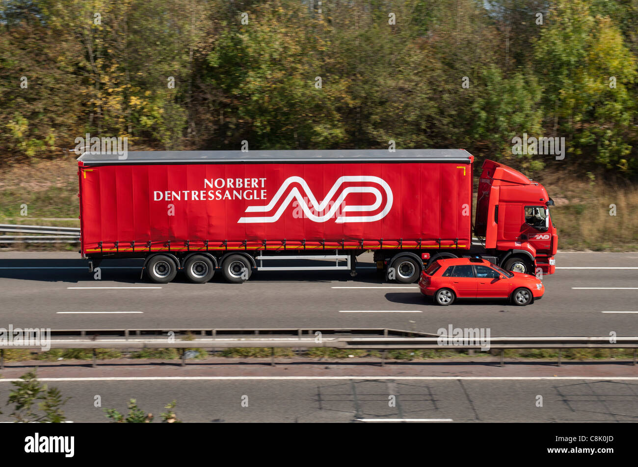Norbert Dentressangle lorry on M40 motorway, Warwickshire, UK Stock Photo
