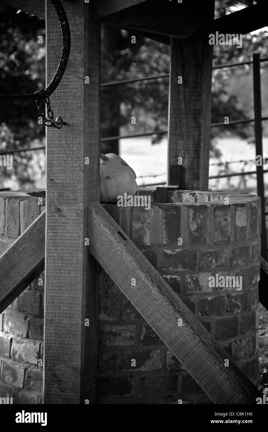 A water well and solitary pumpkin at Rudyard Kipling's House, Batemans. - Stock Image