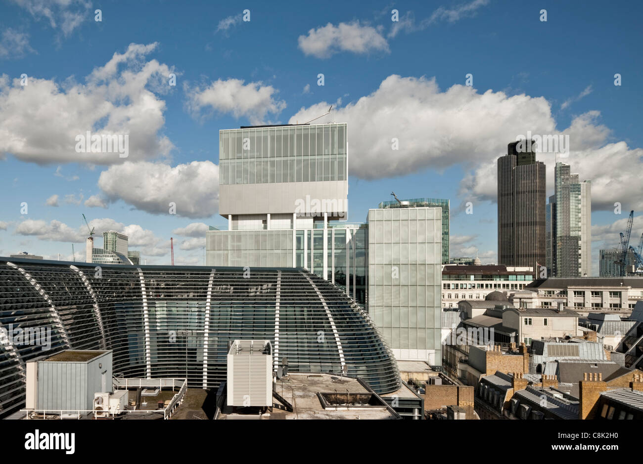 London skyline with Rothchild's offices designed by architect Rem Koolhaas - Stock Image
