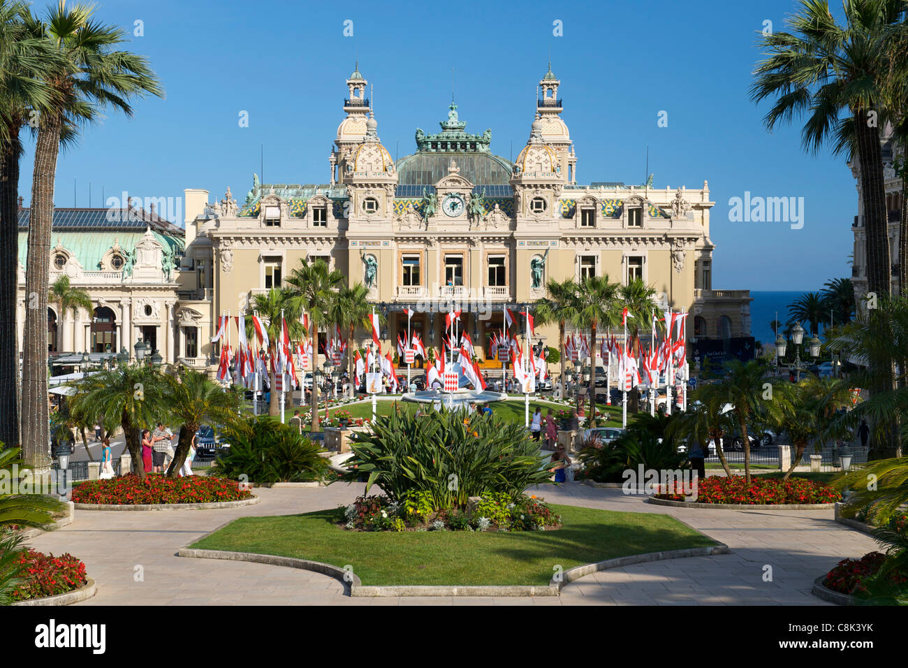 Monte Carlo casino in the independent principality of Monaco on the French Riviera along the Mediterranean coast. - Stock Image