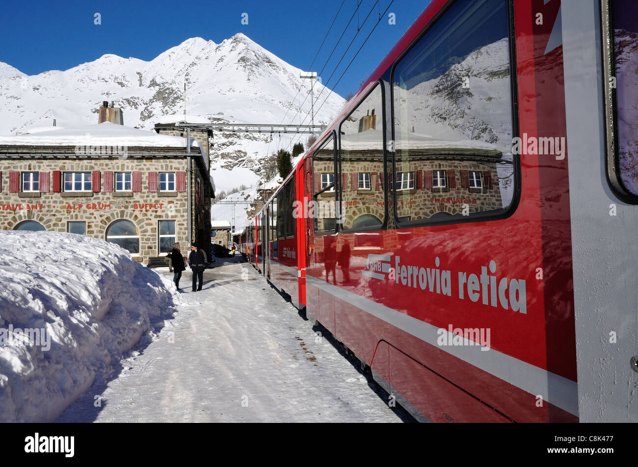Alp Grüm railway station, Bernina Railway, Pontresina, Engadin, Graubünden, Switzerland - Stock Image