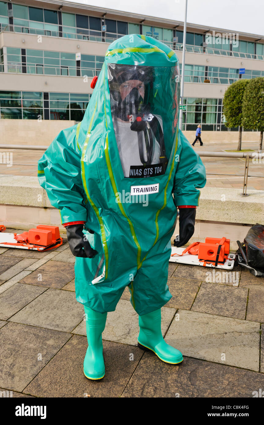 Paramedics wearing Gas Tight Suits (GTS) during the launch of Northern Ireland Ambulance Service (NIAS) Hazardous - Stock Image