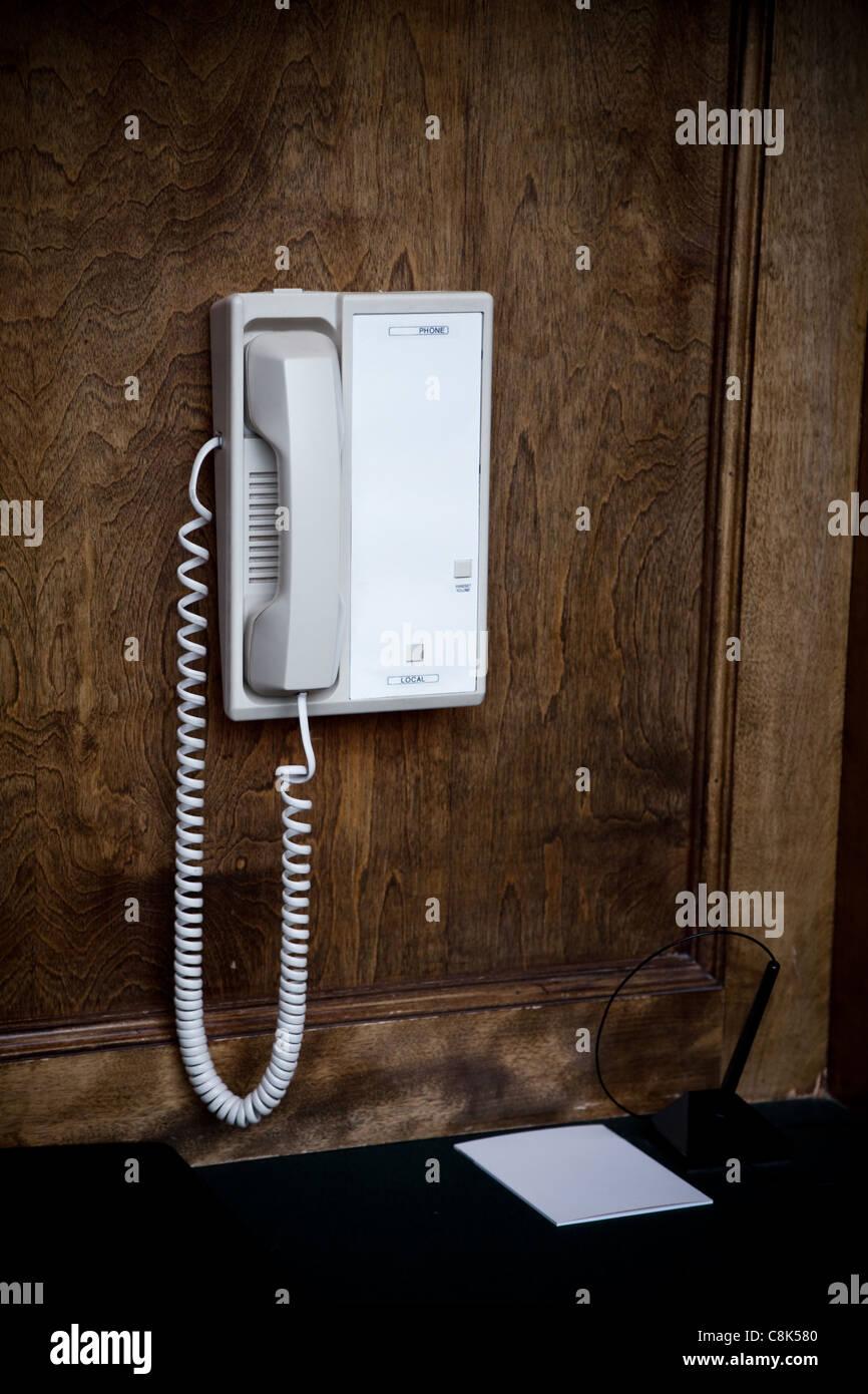 white telephone close up shot - Stock Image