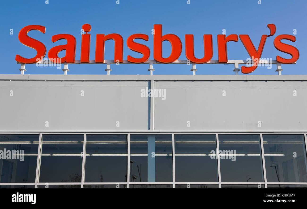 Sainsbury's supermarket signage. - Stock Image