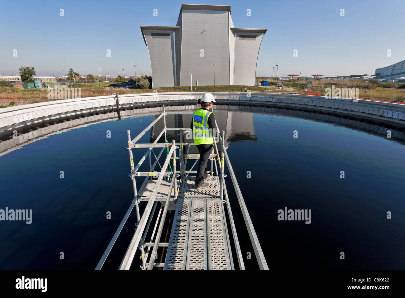 Tank construction at a sewage treatment works in South London. - Stock Image