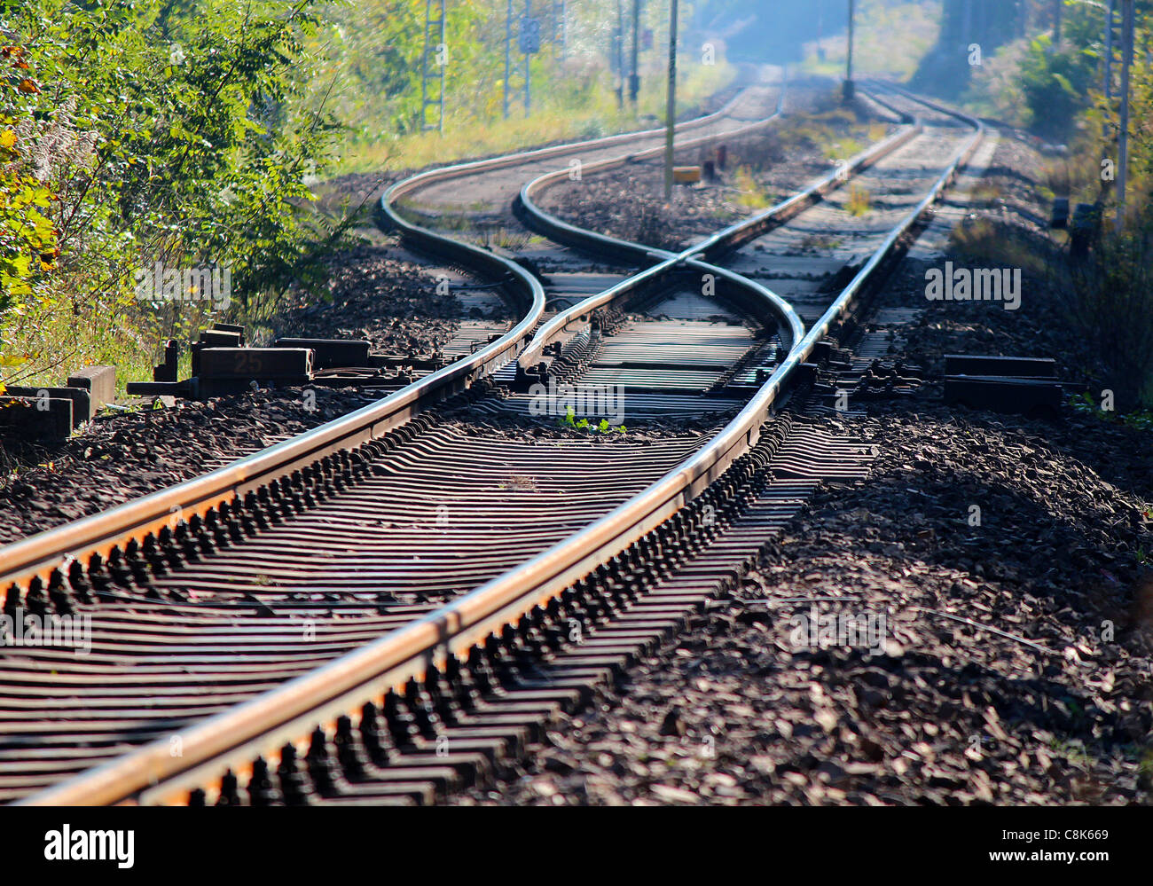A railwai track switch as a symbol of decicion taking - Stock Image