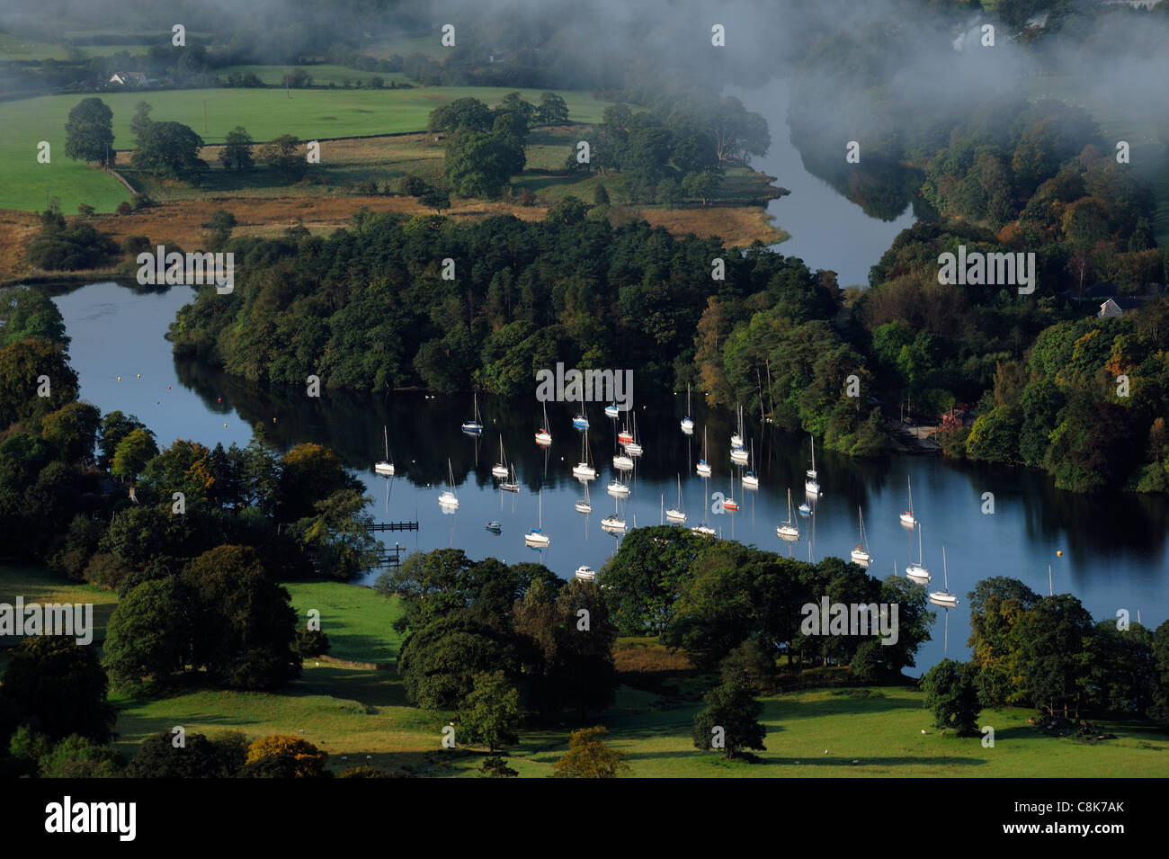 Boats at the south end of Lake WIndermere - Stock Image