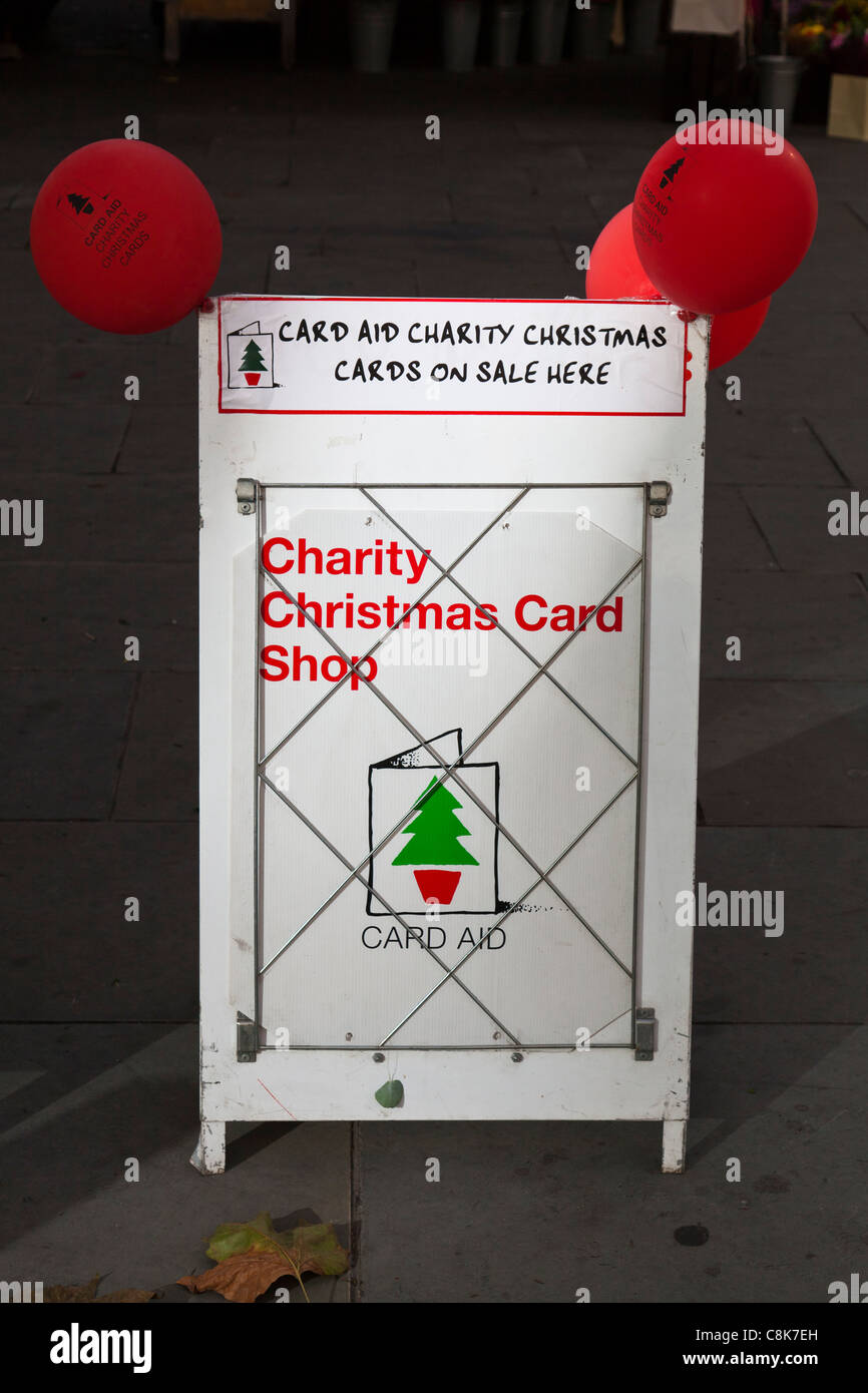 For sale sign for card aid charity Christmas cards, London Stock ...