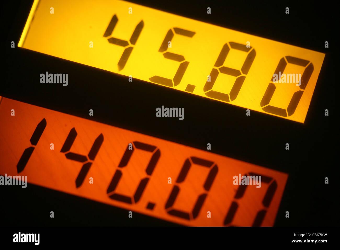 LCD screen digital number close up shot - Stock Image