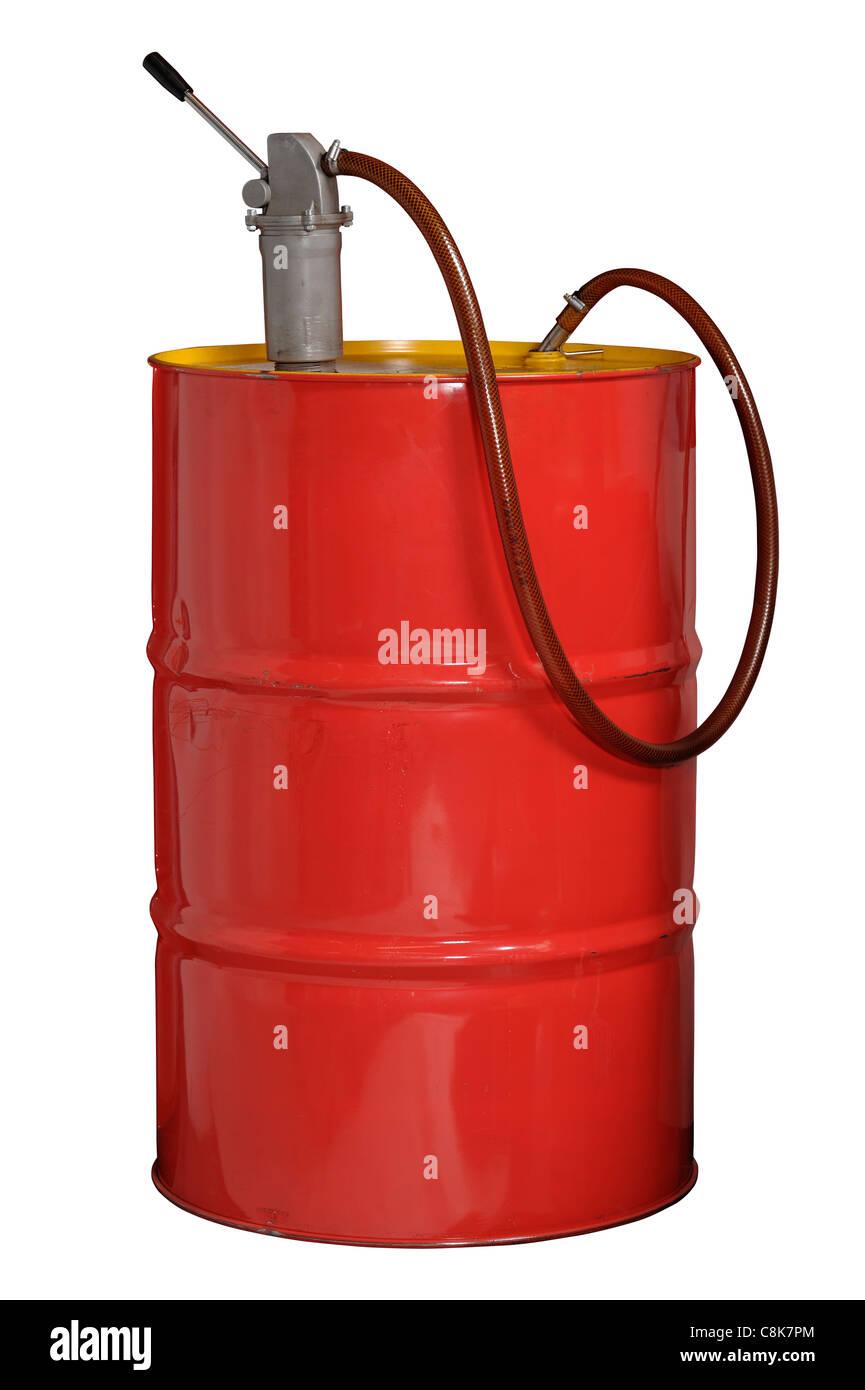 55 US Gallon 44 Imperial Gallon metal oil drum - Stock Image