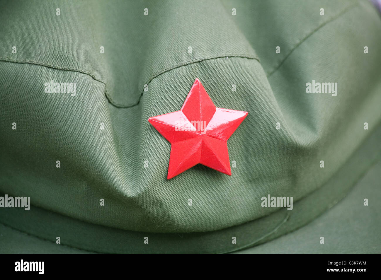 red army cap with a red star - Stock Image