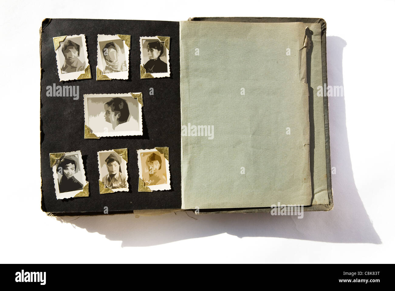 Photo Album with old stained photos, all photos have been blurred, so you can use the photo frame and put your photo - Stock Image