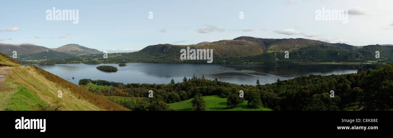Derwent Water from Old Brandlehow Lake District - Stock Image