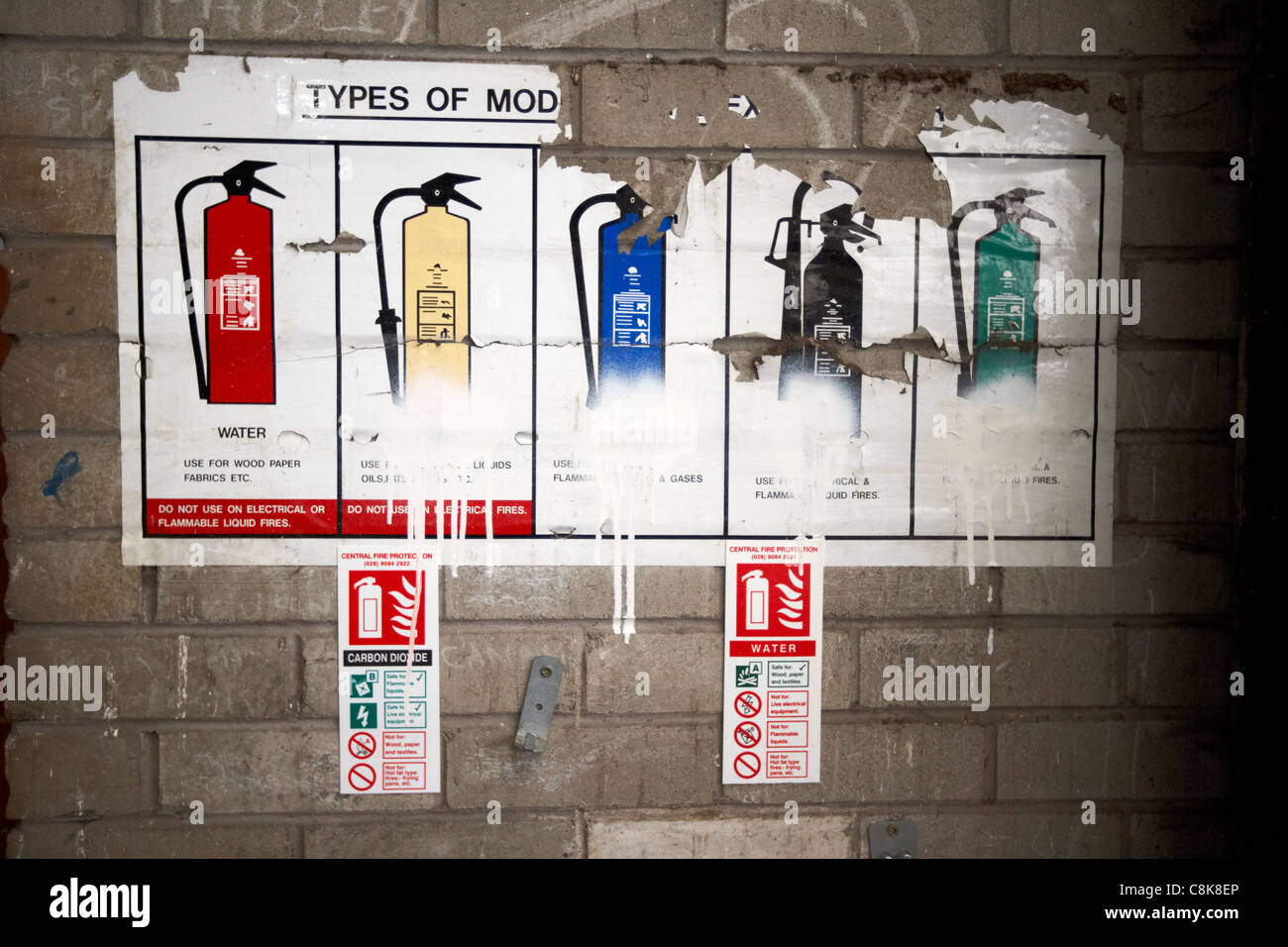 old different types of fire extinguisher information panel in an old factory warehouse unit belfast northern ireland - Stock Image