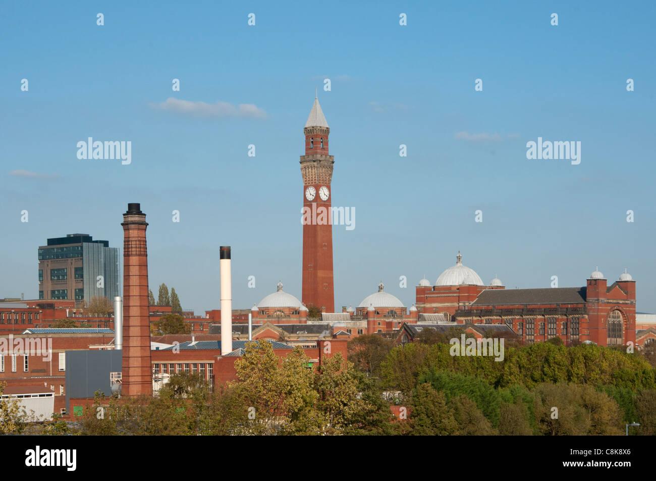 Birmingham University skyline with Joseph Chamberlain Memorial Clock Tower in Chancellor's court, Birmingham. England. Stock Photo