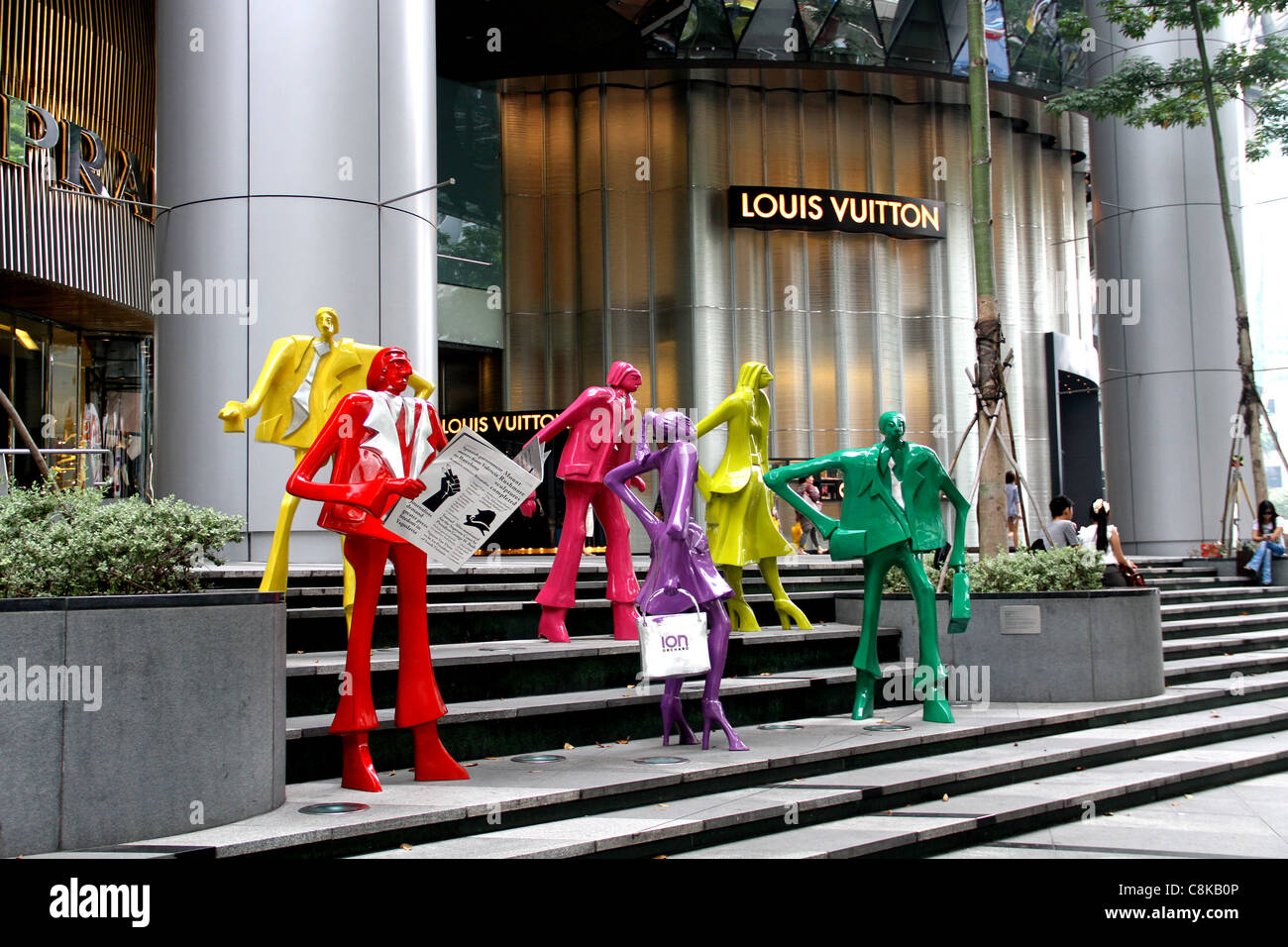 c6a85114fb Brightly painted fashion statues stand outside ION Shopping Centre ...