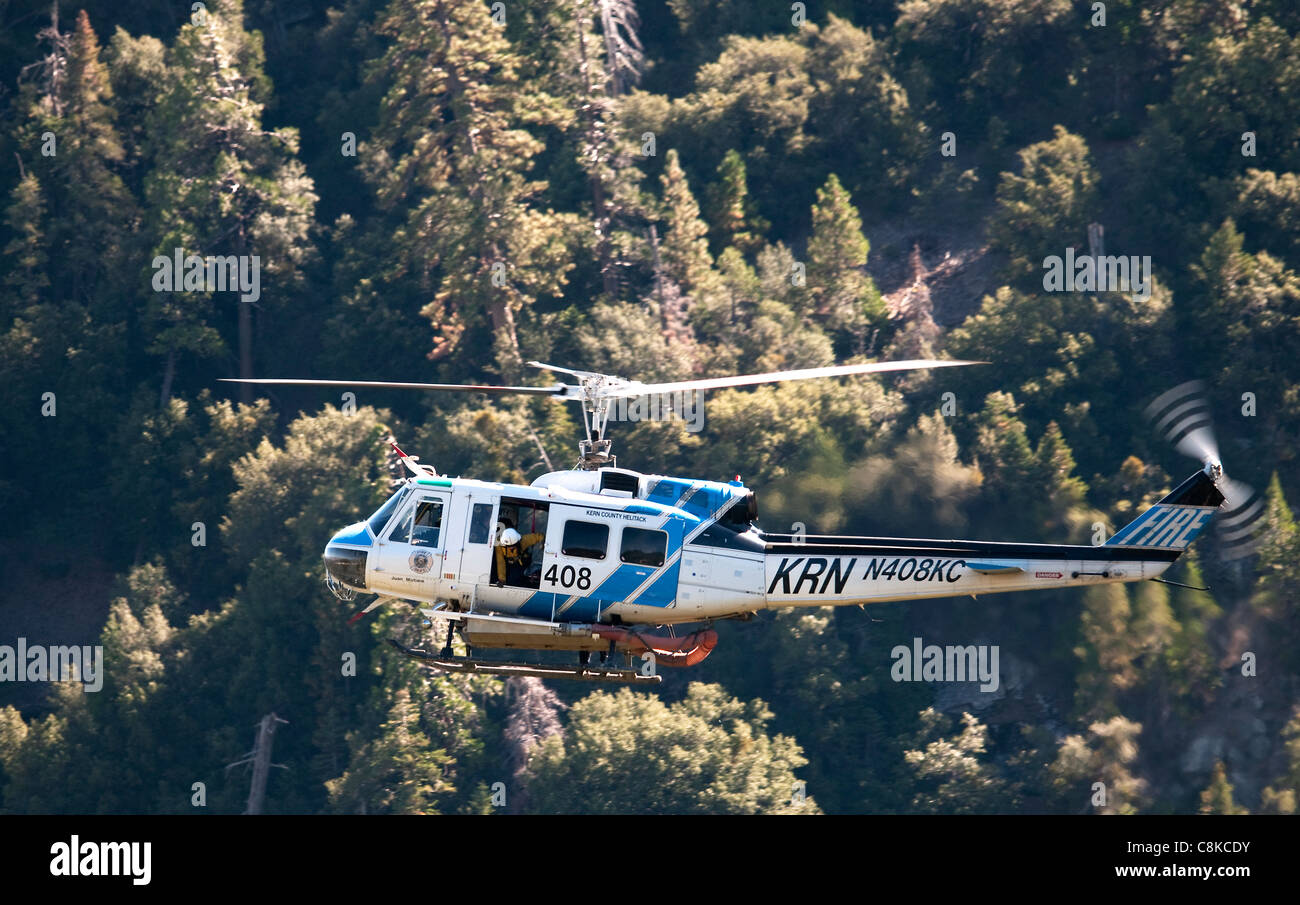 Cal FIRE Bell UH-1H Fire Fighting Helicopter - Stock Image