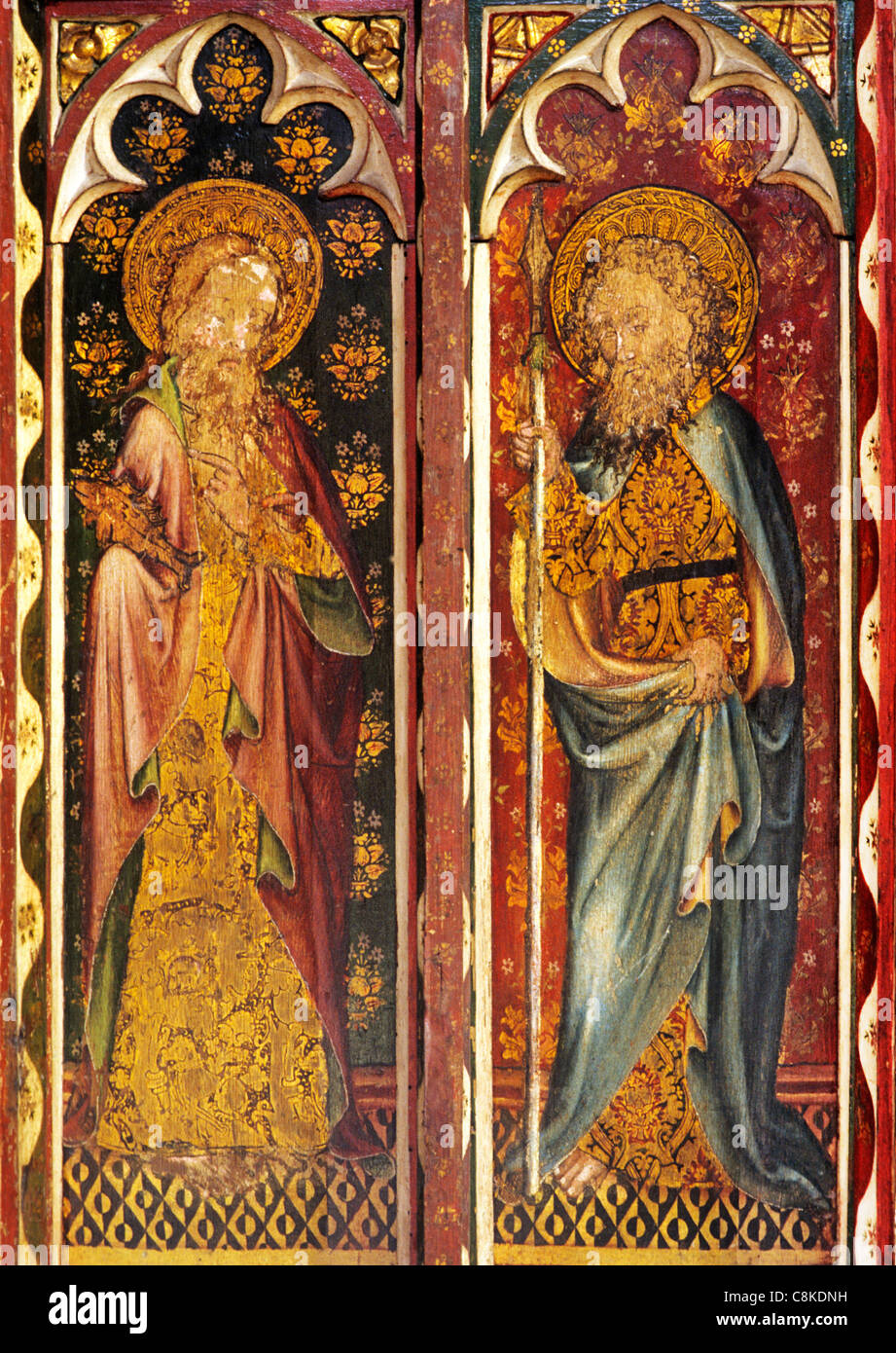 Ranworth, Norfolk, rood screen, St. Simon with fish, St. Thomas with Spear, male saint saints English medieval screens - Stock Image