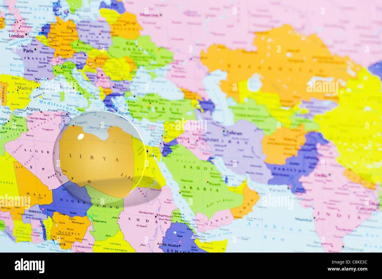 Crystal Ball Over Libya On World Map Stock Photo: 39766144 - Alamy